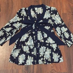 Anthropologie Odille Navy Floral Blouse